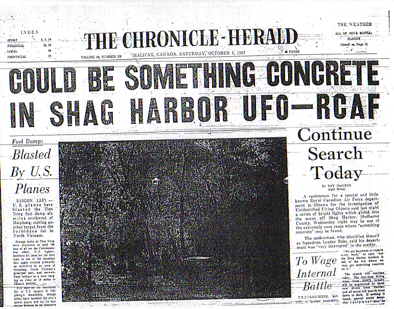 Shag Harbour UFO incident newspaper