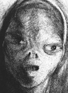Рисунок Бетти инопланетянина, которого, как ей казалось, она видела.